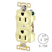 Bryant 5242I Heavy-Duty Duplex Receptacle, 15A, 125V, Ivory, Self Ground