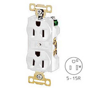 Bryant 5242W Heavy-Duty Duplex Receptacle, 15A, 125V, White, Self Ground