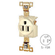 Bryant 5251I Heavy-Duty Single Receptacle, 15A, 125V, Ivory