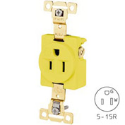 Bryant 5261CR TECHSPEC® Industrial Grade Single Receptacle, 15A, 125V, Yellow