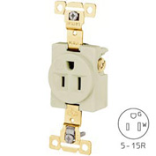 Bryant 5261I TECHSPEC® Industrial Grade Single Receptacle, 15A, 125V, Ivory, Self Ground
