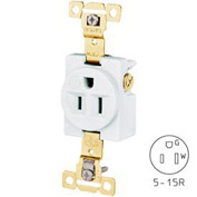 Bryant 5261IGW TECHSPEC® Industrial Grade Single Receptacle, 15A, 125V, White