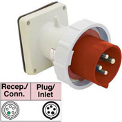 Bryant 530B7W Inlet, 4 Pole, 5 Wire, 30A, 3ph Y 277/480V AC, Red