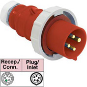 Bryant 530P7W Plug, 4 Pole, 5 Wire, 30A, 3ph Y 277/480V AC, Red