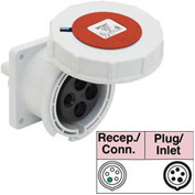 Bryant 530R7W Receptacle, 4 Pole, 5 Wire, 30A, 3ph Y 277/480V AC, Red