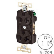 Bryant 5342BLK Heavy-Duty Duplex Receptacle, 20A, 125V, Black, Self Ground