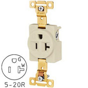 Bryant 5351I Heavy-Duty Single Receptacle, 20A, 125V, Ivory