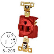 Bryant 5361RED TECHSPEC® Industrial Grade Single Receptacle, 20A, 125V, Red