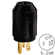 Bryant 5364B TECHSPEC® Straight Blade Plug, 20A, 125V, Black
