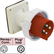 Bryant 560B7W Inlet, 4 Pole, 5 Wire, 60A, 3ph Y 277/480V AC, Red