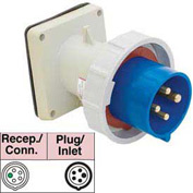 Bryant 560B9W Inlet, 4 Pole, 5 Wire, 60A, 3ph Y 120/208V AC, Blue