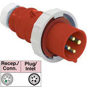 Bryant 560P7W Plug, 4 Pole, 5 Wire, 60A, 3ph Y 277/480V AC, Red