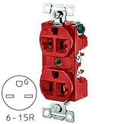 Bryant 5661RED TECHSPEC® Industrial Grade Single Receptacle, 15A, 250V, Red