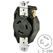 Bryant 70520FR TECHSPEC® Single Receptacle, L5-20, 20A, 125V, Black