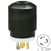Bryant 70520NP TECHSPEC® Plug, L5-20, 20A, 125V, Black/White
