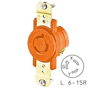 Bryant 70615IG TECHSPEC® Single Receptacle, L6-15, 15A, 250V, Orange