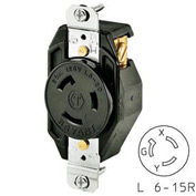 Bryant 70620FR TECHSPEC® Single Receptacle, L6-20, 20A, 250V, Black