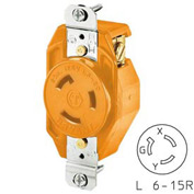 Bryant 70620IG TECHSPEC® Single Receptacle, L6-20, 20A, 250V, Orange