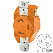 Bryant 70630IG TECHSPEC® Receptacle, L6-30, 30A, 250V, Orange