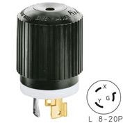 Bryant 70820NP TECHSPEC® Plug, L8-20, 20A, 480V AC, Black/White