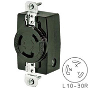 Bryant 71030FR TECHSPEC® Receptacle, L10-30, 30A, 125/250V, Black