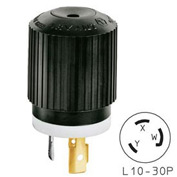 Bryant 71030NP TECHSPEC® Plug, L10-30, 30A, 125/250V, Black/White