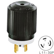 Bryant 71130NP TECHSPEC® Plug, L11-30, 30A, 3ph 250V AC, Black/White