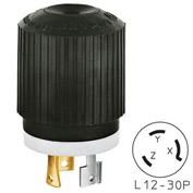 Bryant 71230NP TECHSPEC® Plug, L12-30, 30A, 3ph 480V AC, Black/White