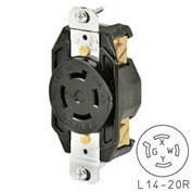 Bryant 71420FR TECHSPEC® Receptacle, L14-20, 20A, 125/250V, Black