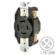 Bryant 71520FR TECHSPEC® Receptacle, L15-20, 20A, 3ph 250V AC, Black