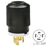 Bryant 71520NP TECHSPEC® Plug, L15-20, 20A, 3ph 250V AC, Black/White