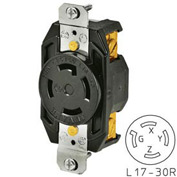 Bryant 71730FR TECHSPEC® Receptacle, L17-30, 30A, 3ph 600V AC, Black