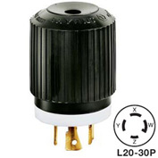 Bryant 72030NP TECHSPEC® Plug, L20-30, 30A, 3ph 347/600V AC, Black/White