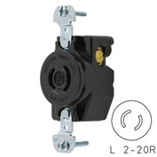 Bryant 7210B Locking Device Receptacle, L2-20, 15A, 250V, Black