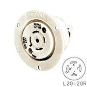 Bryant 72120ER TECHSPEC® Receptacle, L21-20, 20A, 3ph 120/208V AC, White