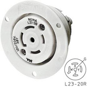 Bryant 72320ER TECHSPEC® Receptacle, L23-20, 20A, 3ph 347/600V AC, White