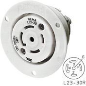 Bryant 72330ER TECHSPEC® Receptacle, L23-30, 30A, 3ph 347/600V AC, White