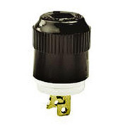 Bryant 7465N TECHSPEC® Midget Plug, ML-1P, 15A, 125V, Black/White