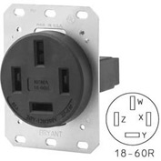 Bryant 8360FR Single Flush Receptacle, 60A, 3ph 120/208V, Black
