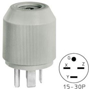Bryant 8430NP Straight Blade Plug, 30A, 3ph 250V, Gray