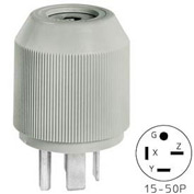 Bryant 8450NP Straight Blade Plug, 50A, 3ph 250V, Gray