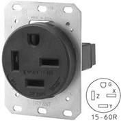 Bryant 8460FR Single Flush Receptacle, 60A, 3ph 250V, Black