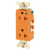 Bryant 9200IG Hospital Grade, 15A, 125V Receptacle, Isolated Ground, Orange