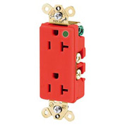 Bryant 9200IGRED Hospital Grade, 15A, 125V Receptacle, Isolated Ground, Red