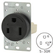 Bryant 9530FR Single Flush Receptacle, 30A, 125V, Black