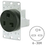 Bryant 9630FR Single Flush Receptacle, 30A, 250V, Black