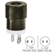 Bryant 9754NS Straight Blade Plug, 15A, 125V, Black/White
