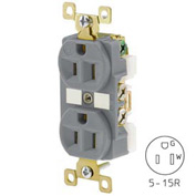 Bryant BRY5262IGGRY TECHSPEC® Industrial Grade Single Rcpt, 15A, 125V, Gray, Isolated Ground