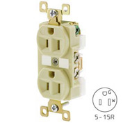 Bryant BRY5262IGI TECHSPEC® Industrial Grade Single Rcpt, 15A, 125V, Ivory, Isolated Ground