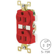 Bryant BRY5262RED TECHSPEC® Industrial Grade Duplex Receptacle, 15A, 125V, Red